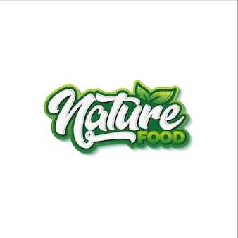 Tipografía de alimentos naturales, diseño de logotipo.
