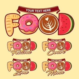 Tipografía de alimentos. plantilla de logotipo de comida