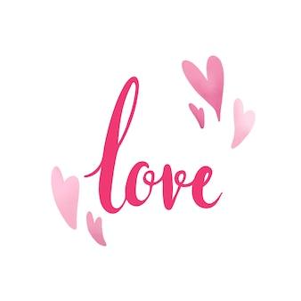 Tipografía de amor decorada con corazones vectoriales.
