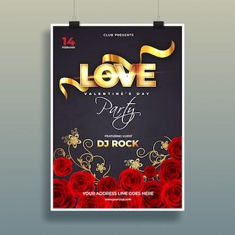 Tipografía de amor con flores decorativas de color de rosa en el fondo negro