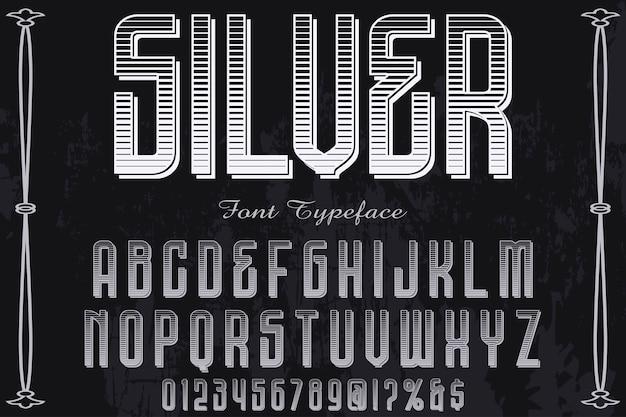 Tipografía artesanal etiqueta diseño plata.