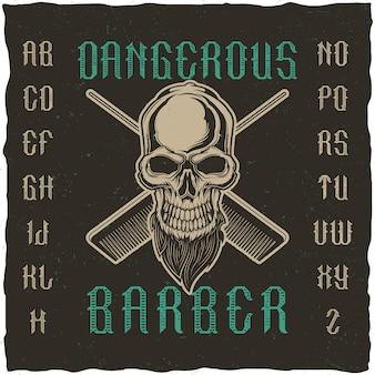 Tipografía artesanal 'peluquero peligroso' en estilo envejecido