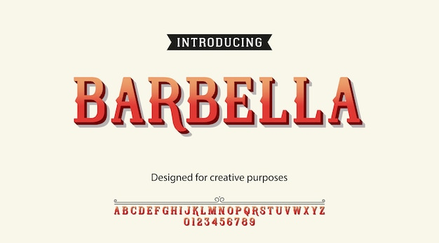Tipografía barbella. tipo de letra con alfabeto y números