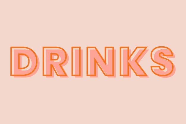 Tipografía de bebidas sobre un fondo melocotón pastel