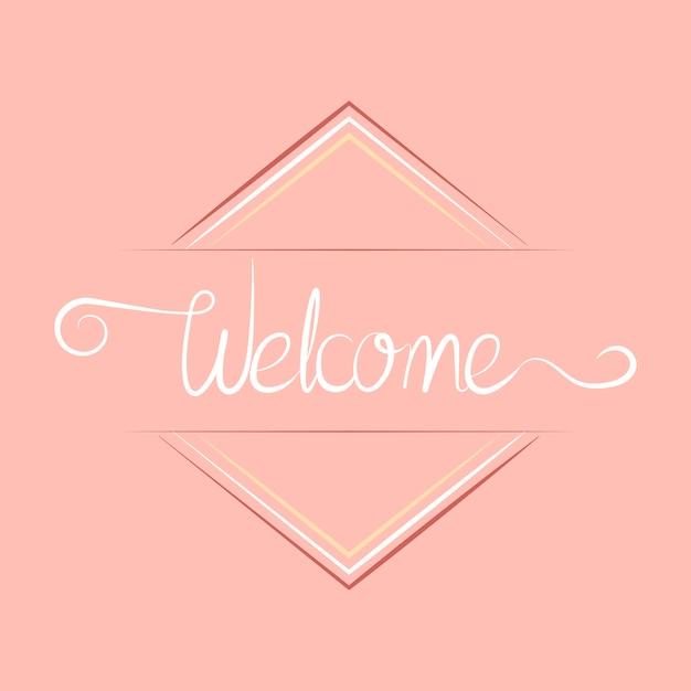 Tipografía de bienvenida con diseño de placa.