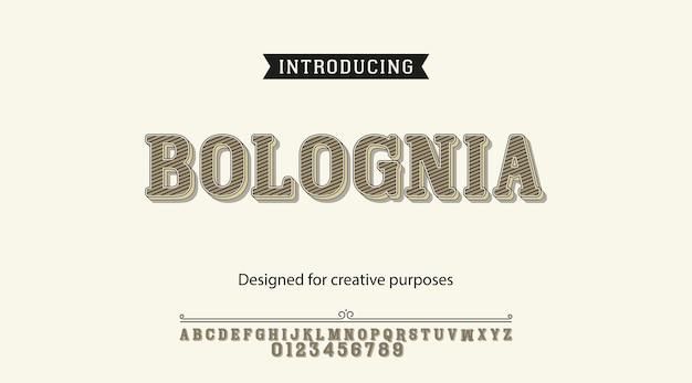 Tipografía bolognia. diseño tipográfico