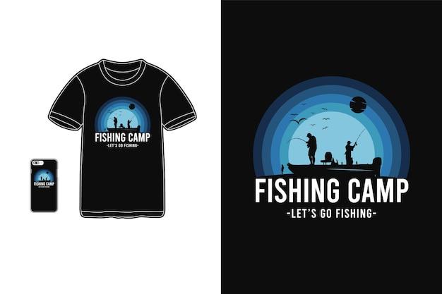 Tipografía de campamento de pesca en mercancía de camiseta y móvil.