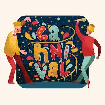 Tipografía de carnaval con personaje
