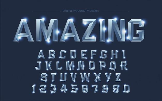 Tipografía cuadrada brillante de acero cromado