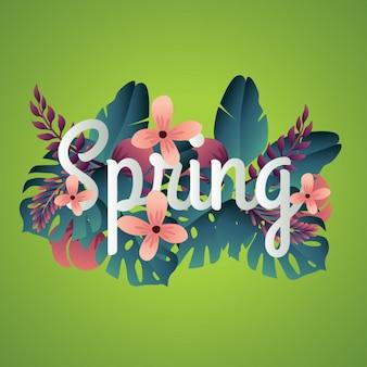 Tipografía de primavera cropped con fondo de las hojas