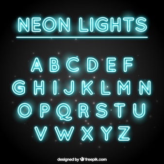 Tipografía decorativa hecha con tubos fluorescentes