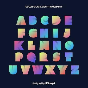 Tipografía degradada colorida