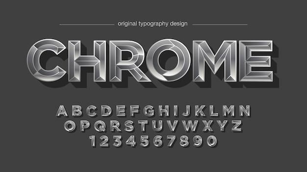 Tipografía de degradado de cromo plateado