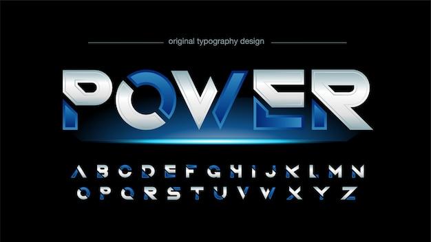 Tipografía deportiva en rodajas futurista azul y plata