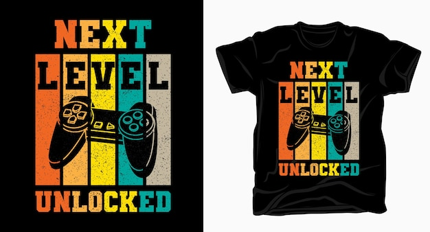Tipografía desbloqueada de siguiente nivel con camiseta vintage de controlador de juego