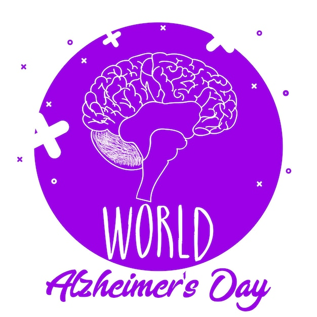 Tipografía del día mundial de la enfermedad de alzheimer con ilustración de vector de cerebro
