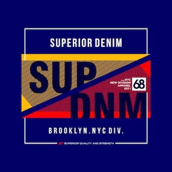 Tipografía de diseño de camiseta gráfica superior denim