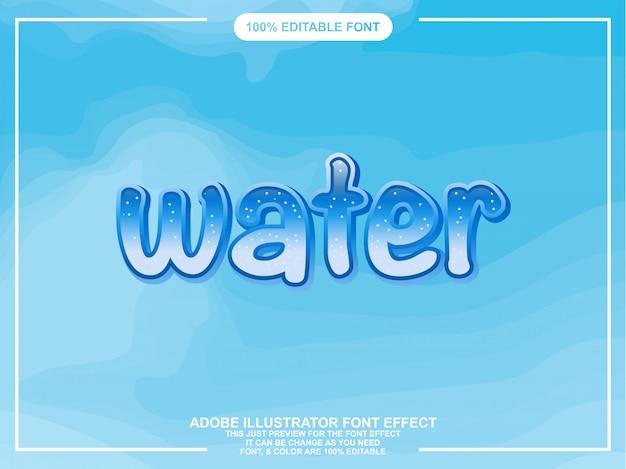 Tipografía editable ilustrador de estilo gráfico de agua azul
