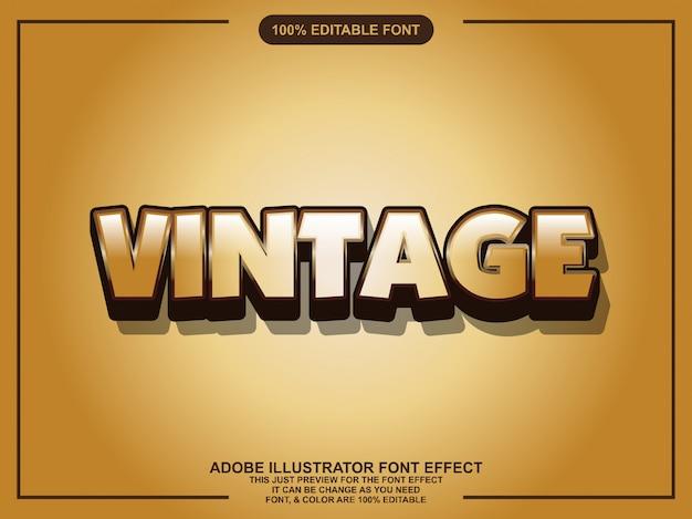 Tipografía editable del ilustrador gráfico del estilo del oro del vintage