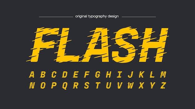 Tipografía de efecto de velocidad amarilla vibrante