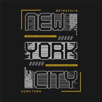 Tipografía del ejemplo del diseño del fondo gráfico rayado de la ciudad de nueva york para la camiseta