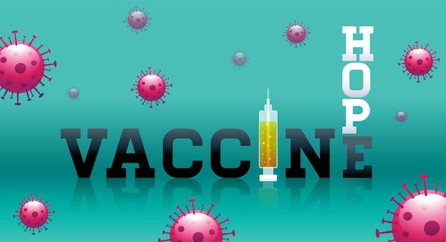 Tipografía de esperanza de vacuna stop covid19.