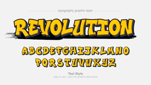Tipografía de estilo graffiti 3d amarillo
