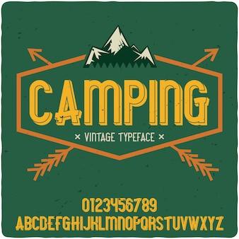 Tipografía de etiqueta de camping