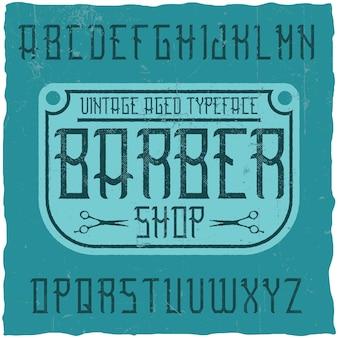 Tipografía de etiqueta vintage llamada barbershop