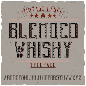Tipografía de etiqueta vintage llamada blended whisky.