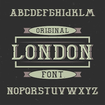 Tipografía de etiqueta vintage llamada londres.