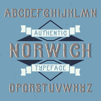 Tipografía de etiqueta vintage llamada norwich.