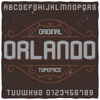 Tipografía de etiqueta vintage llamada