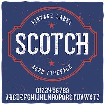 Tipografía de etiqueta vintage llamada whisky. buena fuente artesanal.