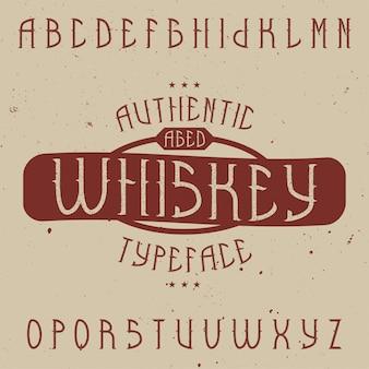 Tipografía de etiqueta vintage llamada whisky. buena fuente para usar en cualquier etiqueta o logotipo vintage.