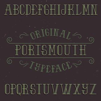 Tipografía de etiqueta vintage