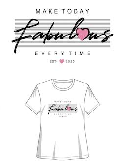 Tipografía fabulosa para imprimir chica camiseta