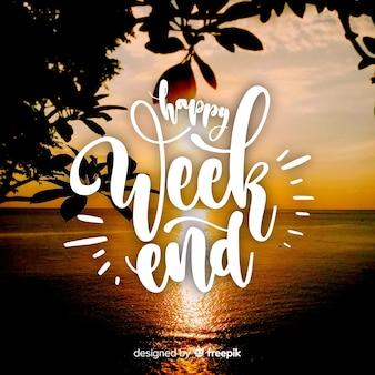 Tipografía de feliz fin de semana con fotografía