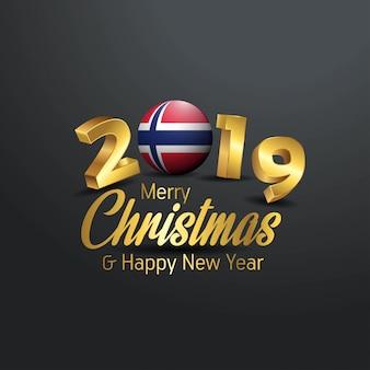 Tipografía de feliz navidad 2019 bandera de noruega