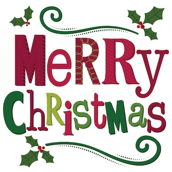 Tipografía feliz navidad carta, decoración feliz navidad carta sobre fondo blanco.