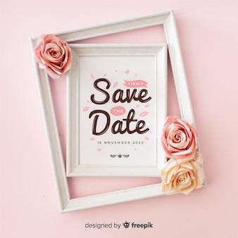 Tipografía con foto de guardar la fecha