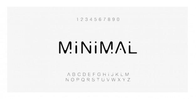 Tipografía de fuente minimalista creativa alfabeto moderno.