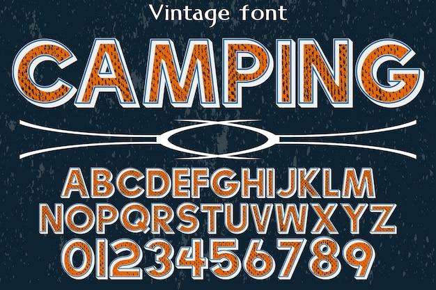Tipografía de fuente vintage vector artesanal nombrado camping