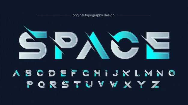 Tipografía futurista azul neón en rodajas moderno