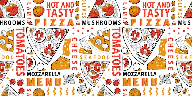 Tipografía italiana pizza e ingredientes de patrones sin fisuras. plantilla de comida italiana.