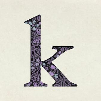 Tipografía de letra k minúscula púrpura floral vintage