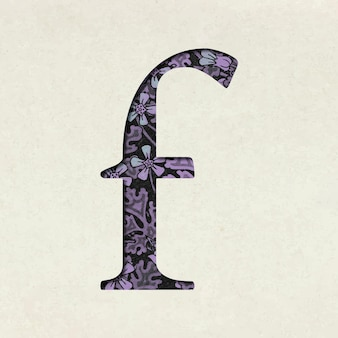 Tipografía de letra minúscula púrpura floral vintage f