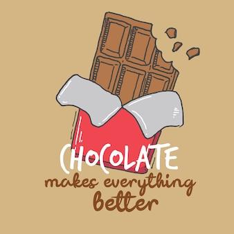 Tipografía mano letras chocolate hace que todo sea mejor citar