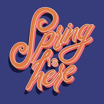La tipografía manuscrita decorativa colorida con la primavera está aquí el texto.