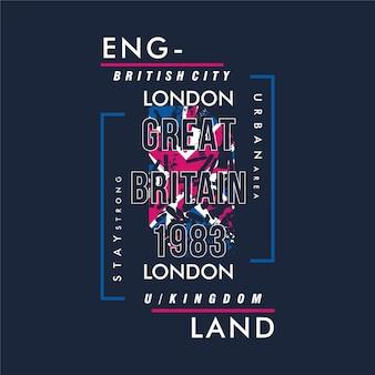 Tipografía de marco de texto de inglaterra con fondo de bandera vintage moderno para camiseta